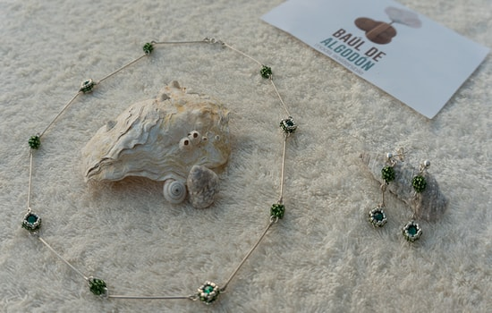 conjunto collar pendientes verde comp