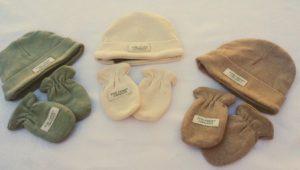 gorro guantes bebe crudo verde marron