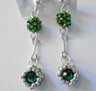 Pendientes Verde Delicas Y Plata -Completa Tu Look