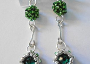 Pendientes verde delicas y plata