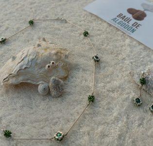 Conjunto Collar Pendientes Verde Delica
