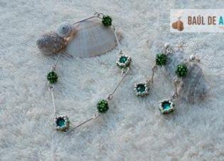 conjunto pulsera pendientes verde delica