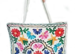 bolso bordado blanco de india