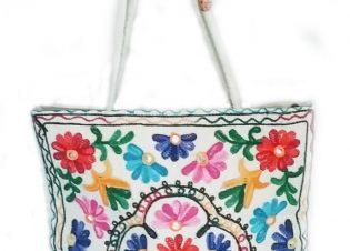 bolso bordado blanco de india